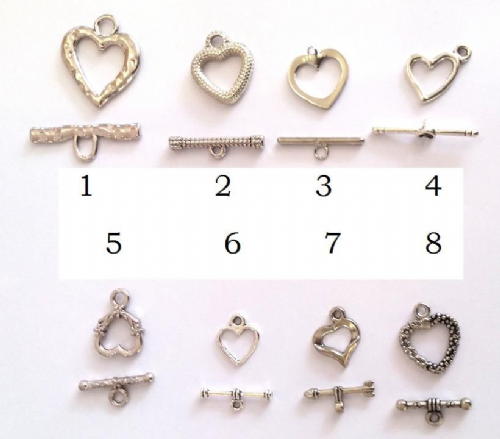 Heart Shaped Toggle & Loop Clasps
